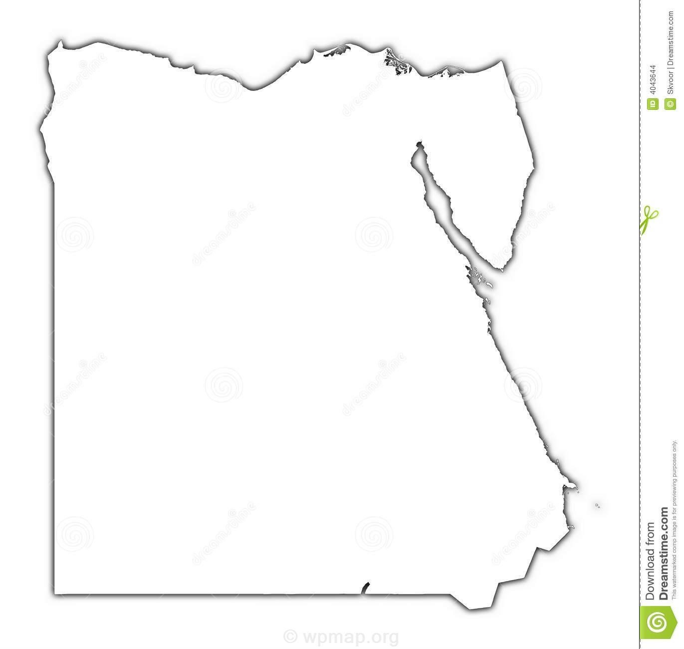 Egypt Outline Map Shadow