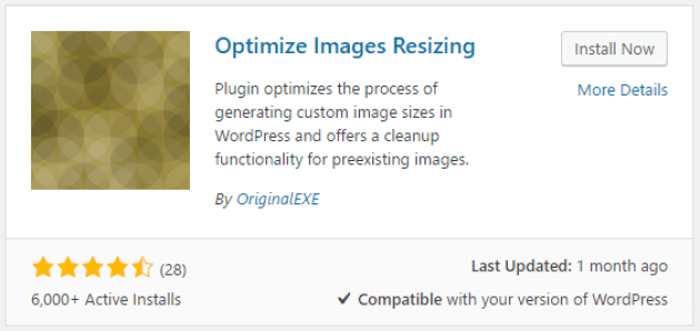 The Optimize Images Resizing plugin.