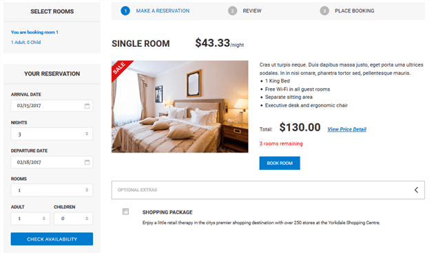 hotel room reservation for wordpress
