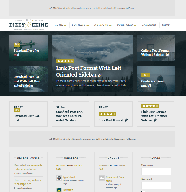 DizzyMag - Ad-Space WordPress Themes