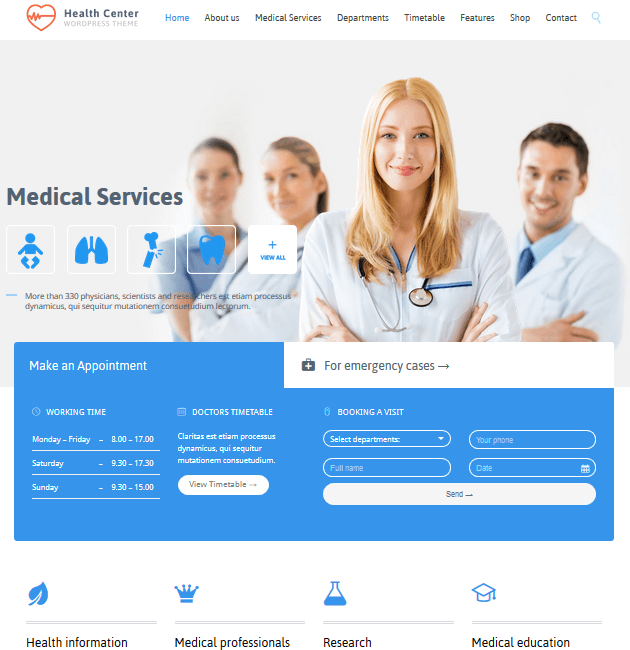 Medical Health - WordPress Doctor Themes