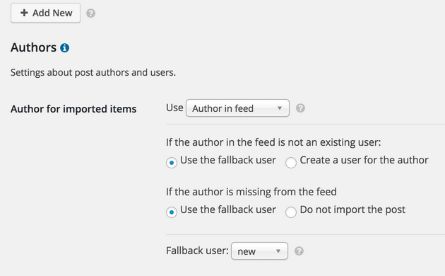 WP RSS Aggregator - Feed to Posts, Author Setting Options