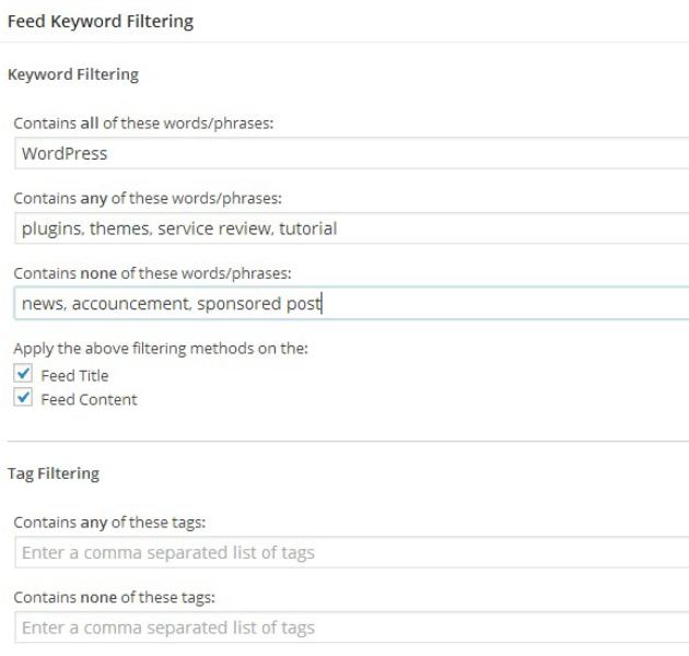 WP RSS Aggregator - Keyword Filtering Settings