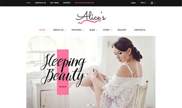 Alice's - Lingerie Fashion Store WordPress Theme