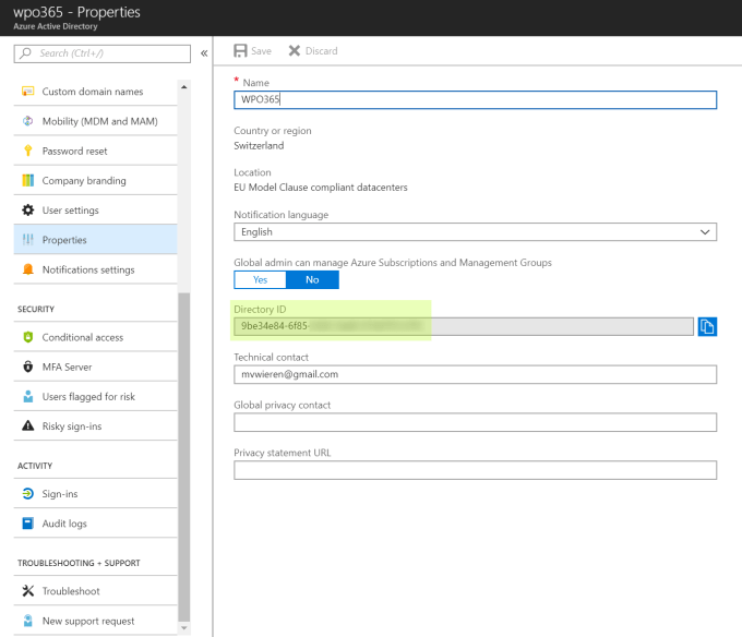 Azure Active Directory ID / Tenant ID