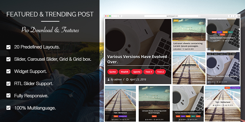 Trending Post Slider and Widget – WordPress Plugin