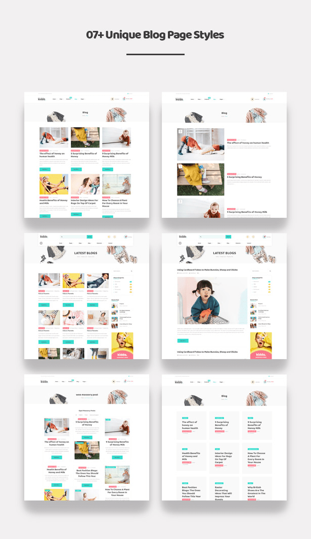 07+ Appealing Blog Styles Kiddo Fashion WooCommerce WordPress Theme for Baby Kids