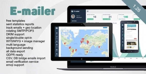 E-mailer - Newsletter - Mailing System with Analytics + GEO location
