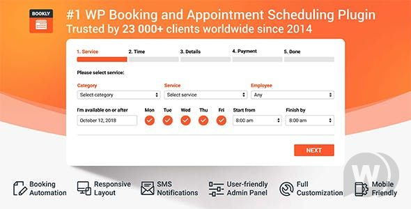 Bookly PRO - Appointment Booking and Scheduling Software Systemv. +Addon