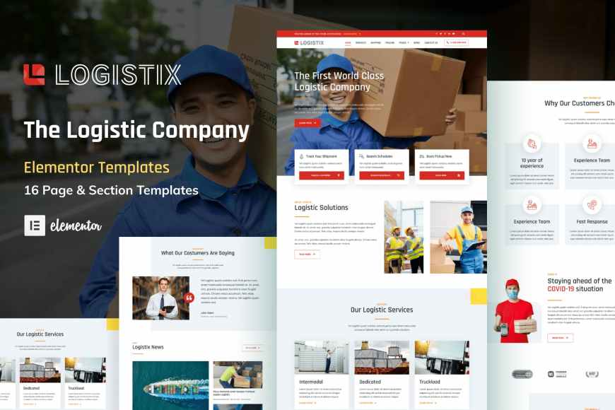 Logistix - Transportation Courier - Logistic Company Elementor Template Kit
