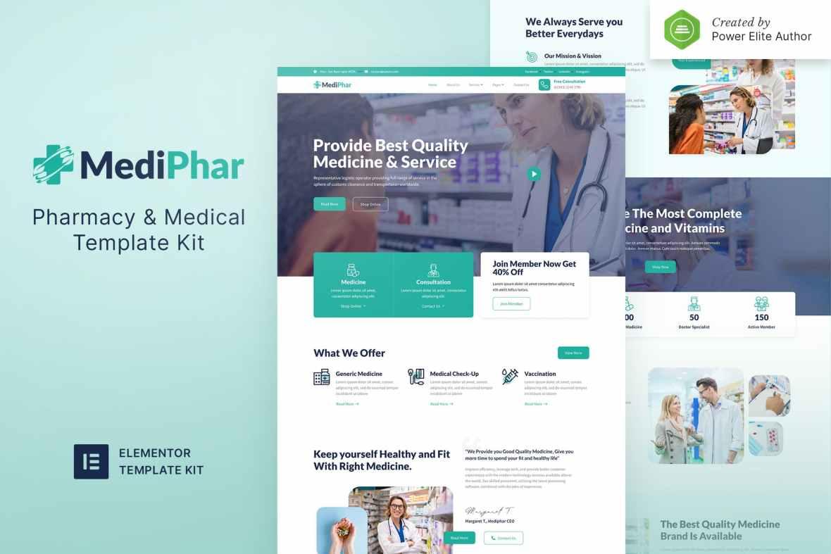 Mediphar - Pharmacy - Medical Elementor Template Kit