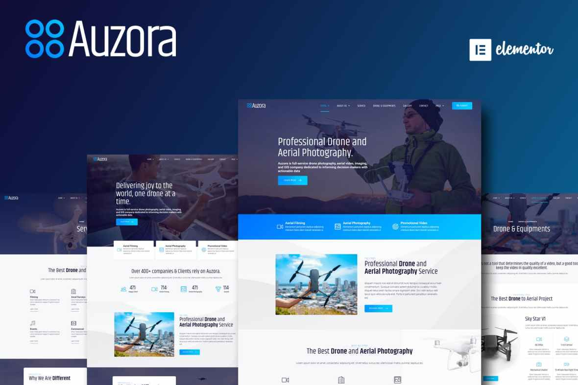 Auzora - Drone Aerial Photography Elementor Template Kit