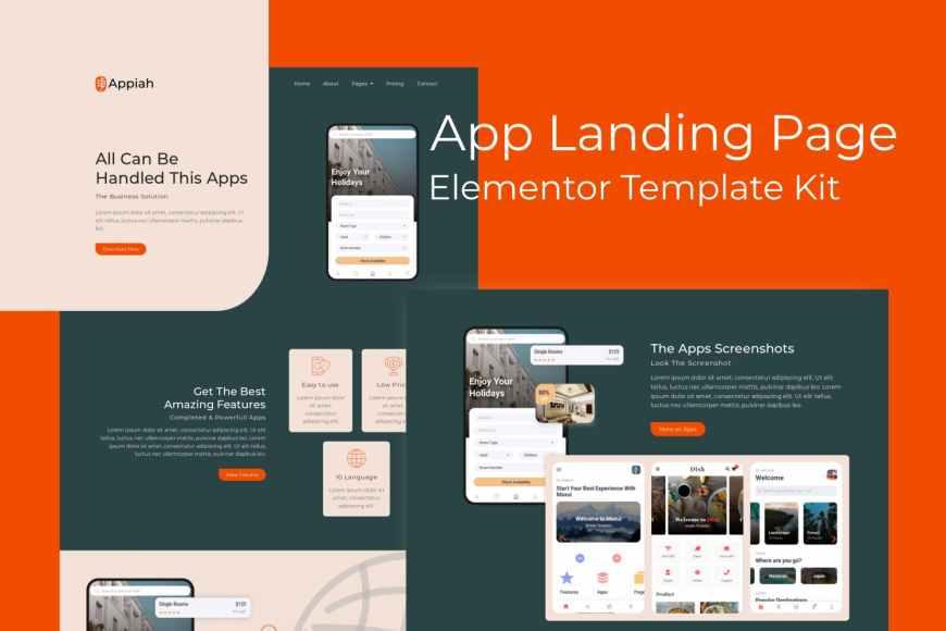 Appiah - App Landing Page Elementor Template Kit