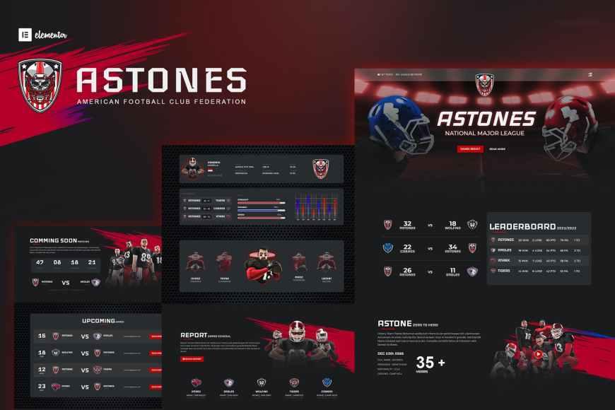 Astones - American Football Team - Sports Elementor Template Kit