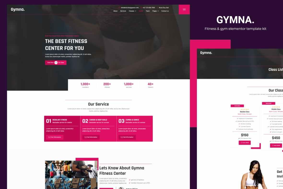 Gymna - Fitness - Gym Elementor Template Kit