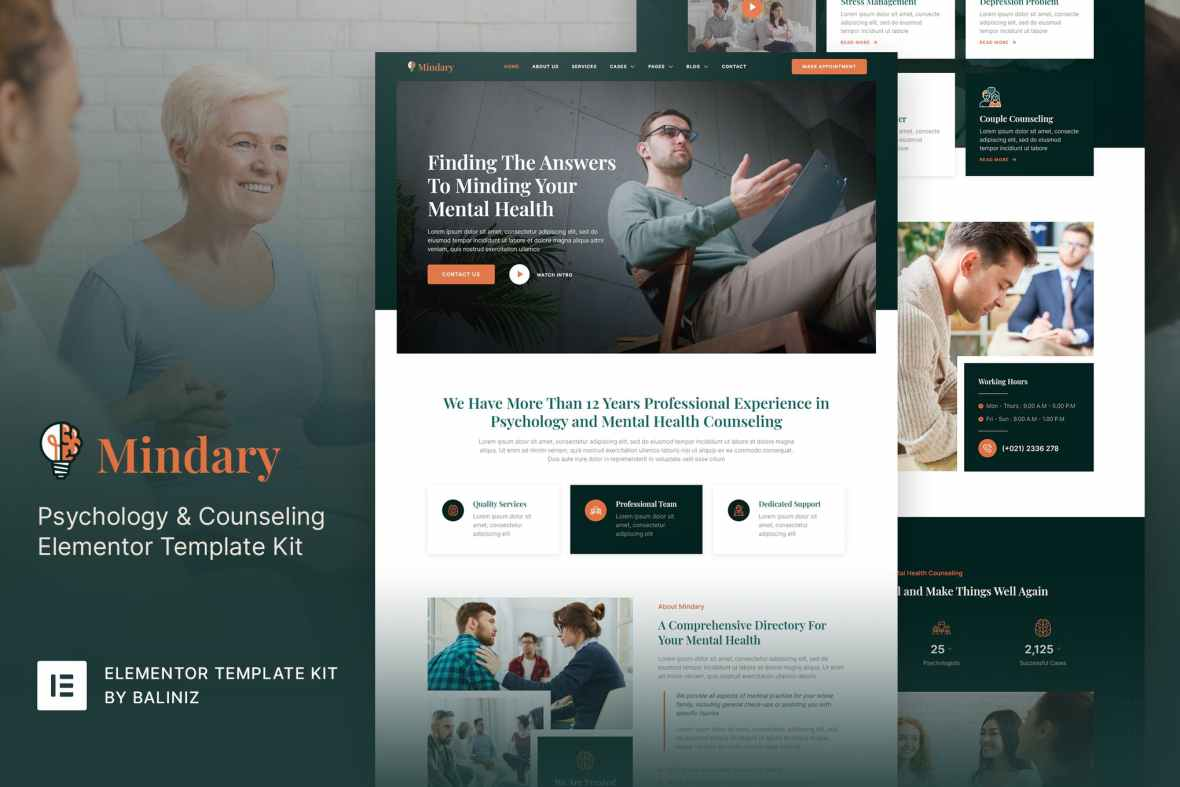 Mindary - Psychology - Counseling Elementor Template Kit
