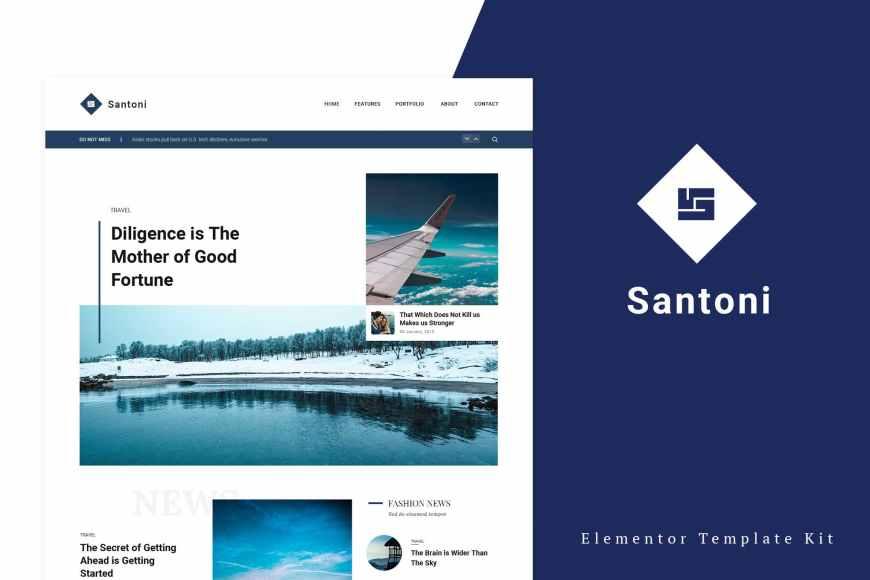Santoni - Blog - Magazine Elementor Template Kit