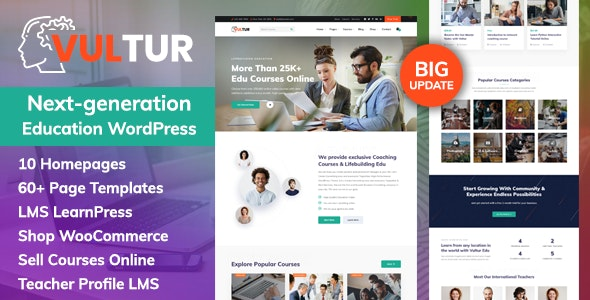 Vultur - Coach Online Courses & LMS Education WordPress