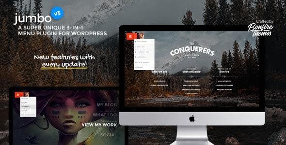 Jumbo A 3 in 1 full screen menu for WordPress