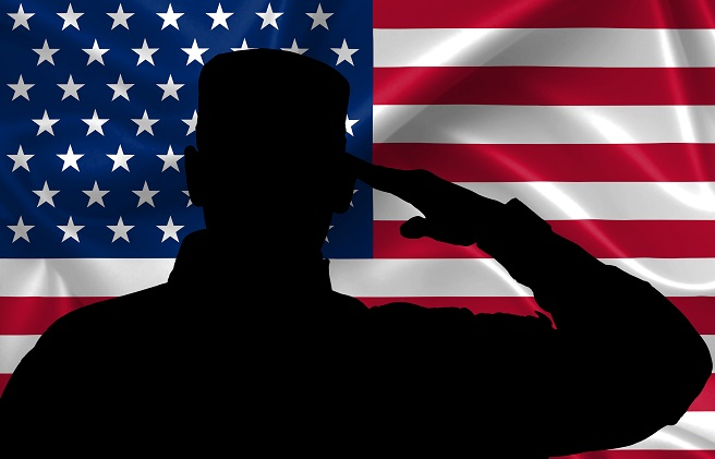 Silhouette of American (USA) soldier saluting to USA flag_320279