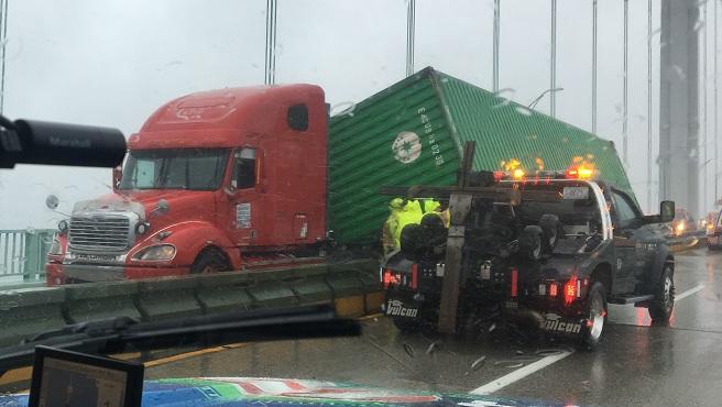 Tractor trailer crash Newport Bridge_654561