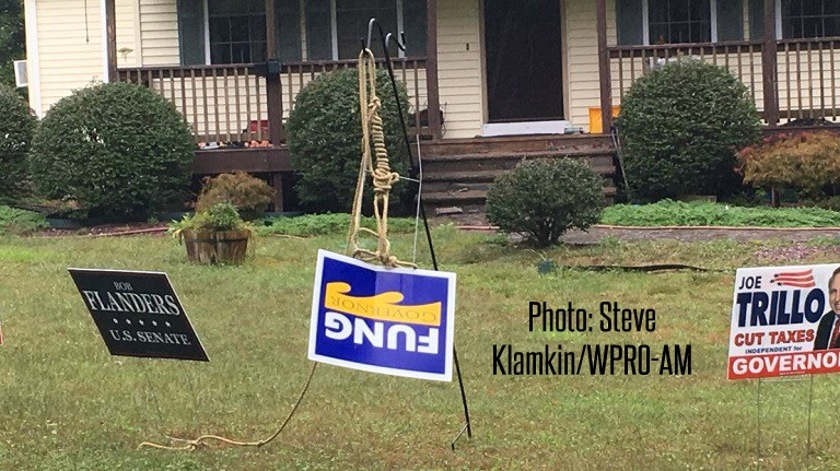 Fung campaign sign hung from noose outside home