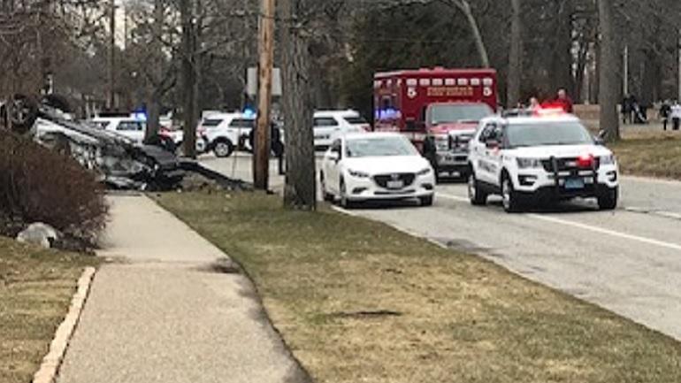 Rollover crash blocks traffic in Providence