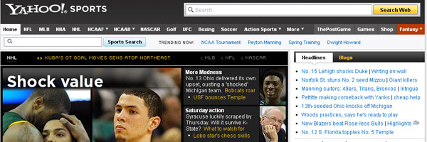 yahoo sports web design