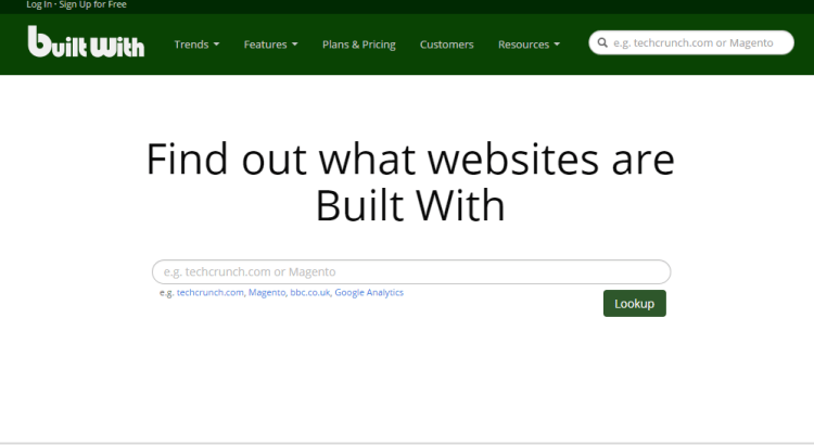 BuiltWith - What Platform a Site is Running