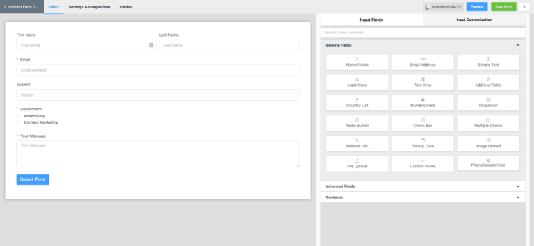 Fluent Forms Interface