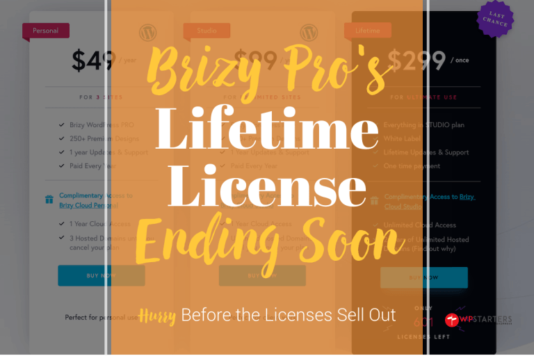Brizy Pro Lifetime License Ending Soon