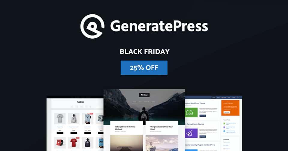 generatepress black friday cyber monday wordpress deal