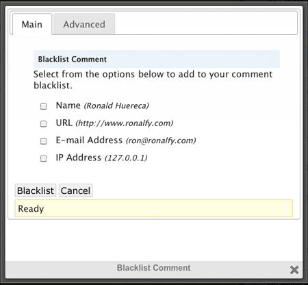 Blacklist Comments Screen
