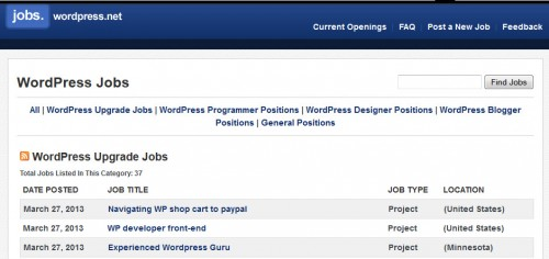 WordPress Jobs Board Old Design