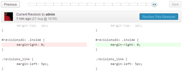 Code Revisions plugin in action