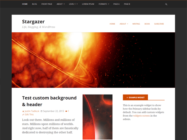 stargazer a free design specific parent theme for wordpress
