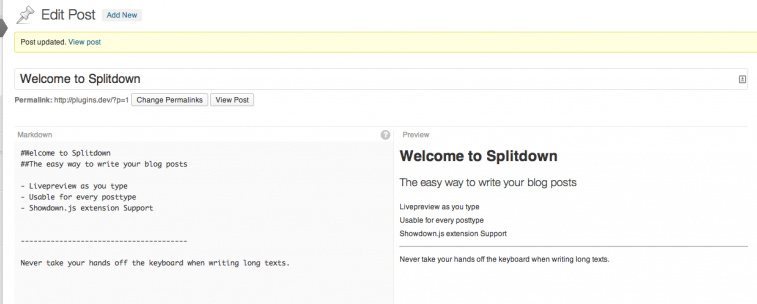 Splitdown example in the WordPress post editor