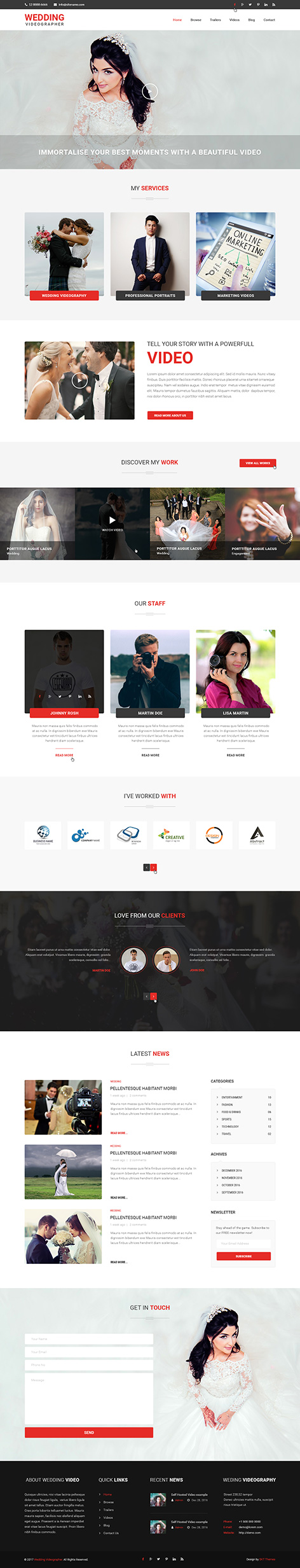 wedding videographer WordPress theme