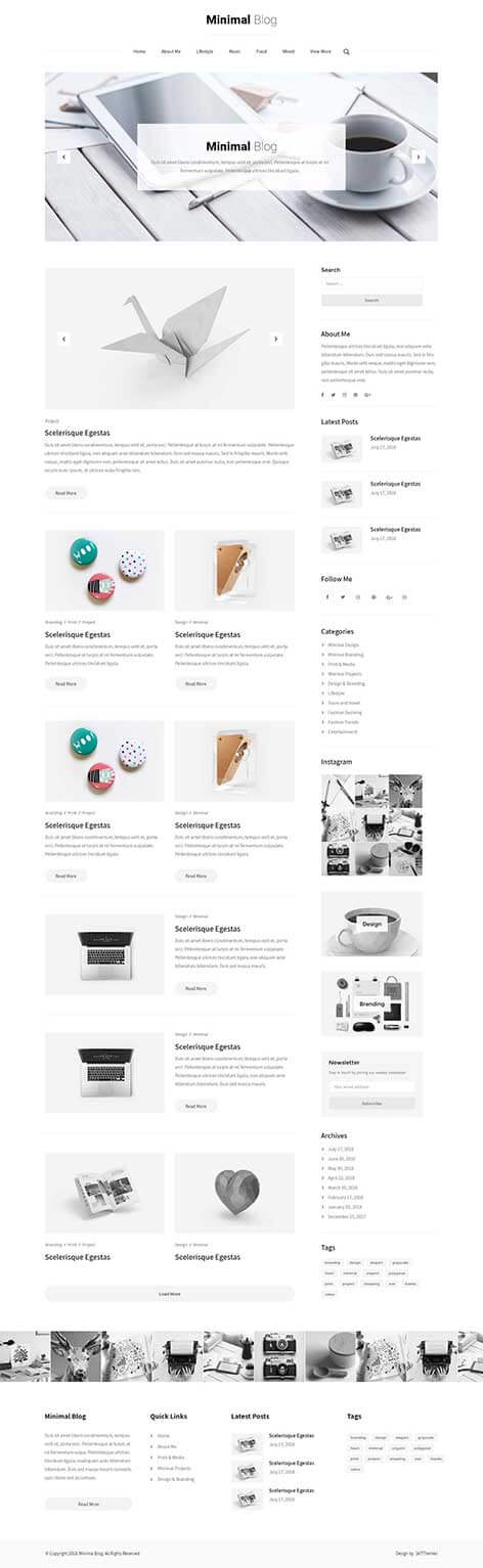 simple blog WordPress theme
