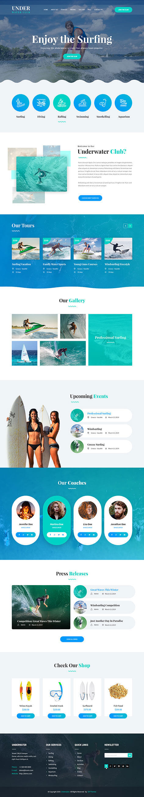 scuba diving WordPress theme