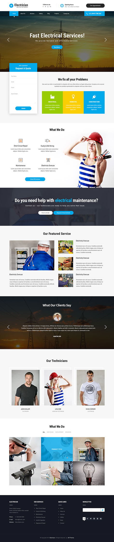 electric service WordPress theme