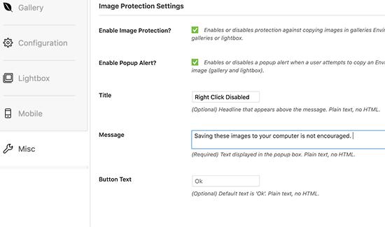 image protection settings