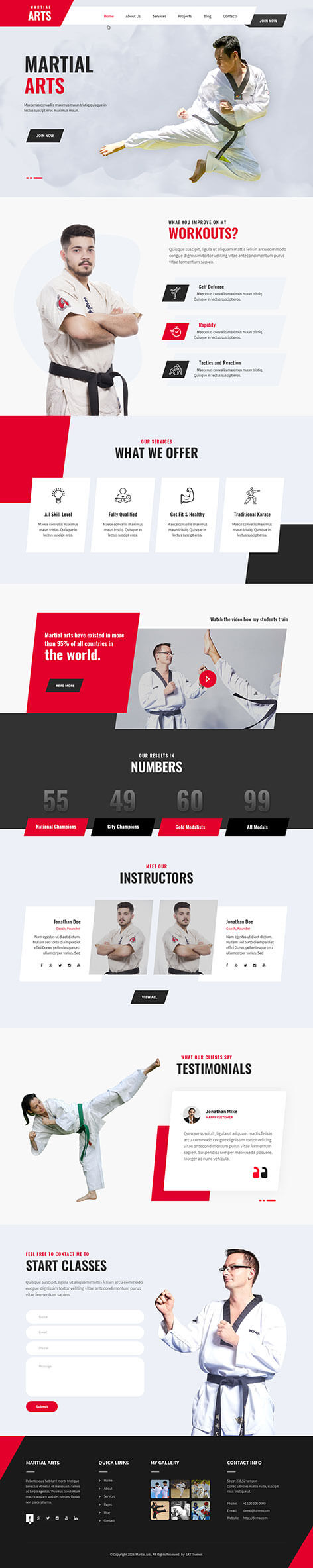 karate school WordPress theme