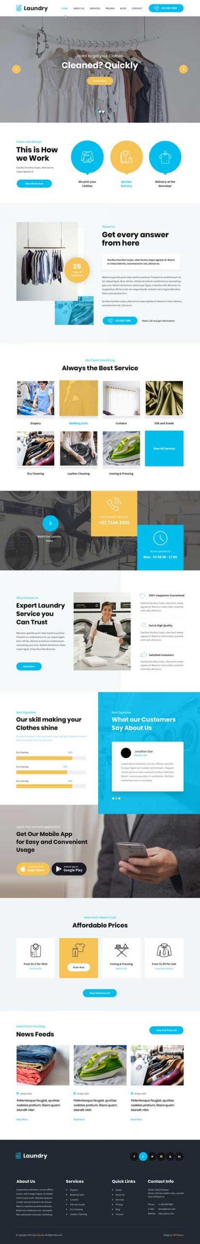 laundry service WordPress theme