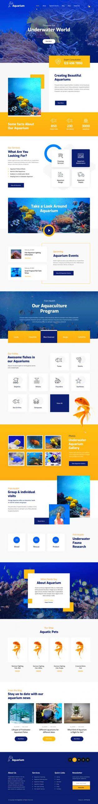 aquarium installation WordPress theme
