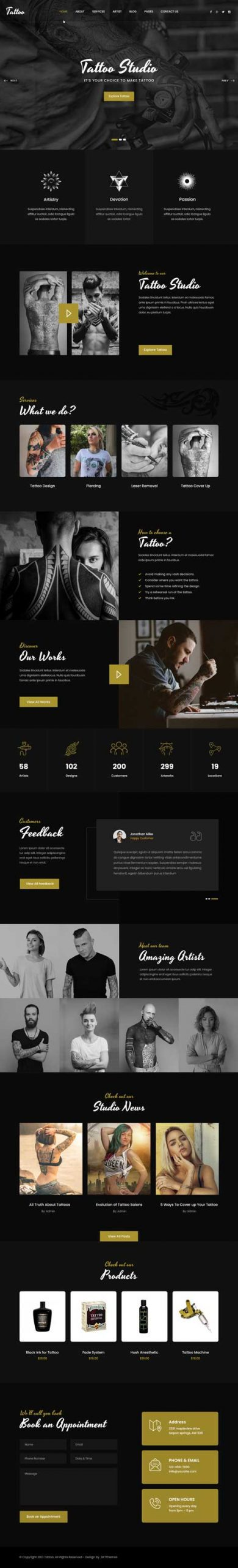 tattoo expert WordPress theme
