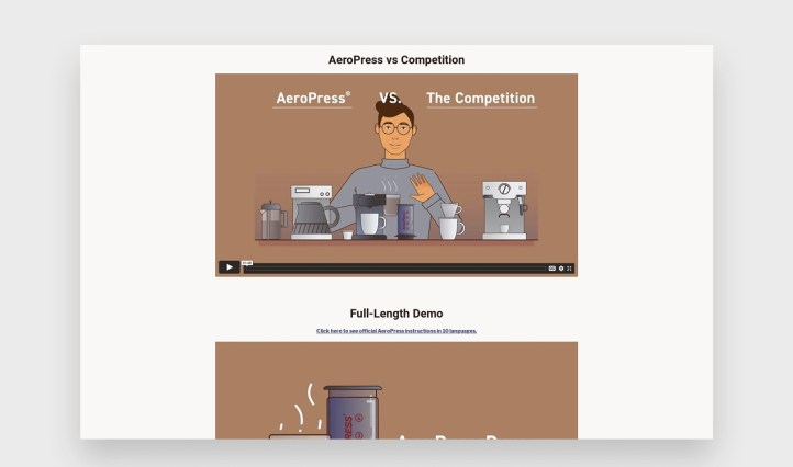 AeroPress videos with illustrations