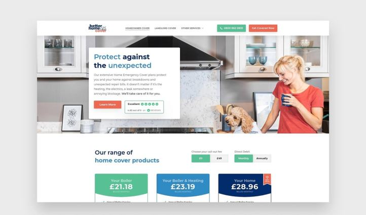Better Home Cover website with clear pricing and services