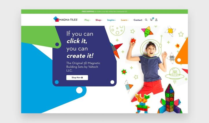 Magna-Tiles site with bright, primary colors