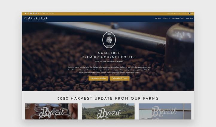 Nobletree website with navy and gold color scheme